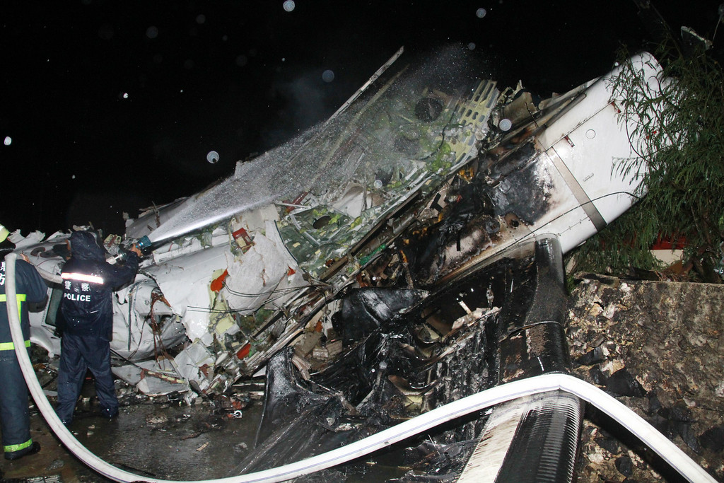. A photo taken on July 23, 2014 shows the wreckage of the TransAsia Airways flight GE222 after it crashed in Penghu islands.     AFP PHOTO / Apple Daily TAIWAN / HO/AFP/Getty Images