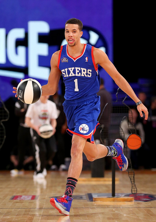 . NEW ORLEANS, LA - FEBRUARY 15:  Eastern Conference All-Star Michael Carter-Williams #1 of the Philadelphia 76ers competes in the Taco Bell Skills Challenge 2014 as part of the 2014 NBA All-Star Weekend at the Smoothie King Center on February 15, 2014 in New Orleans, Louisiana. (Photo by Ronald Martinez/Getty Images)