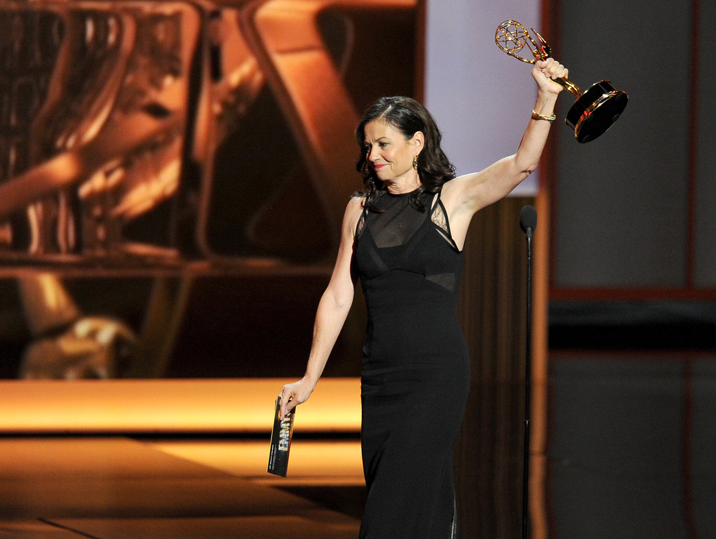 . Winner for Best Directing for a Comedy Series, Gail Mancuso speaks onstage during the 65th Annual Primetime Emmy Awards held at Nokia Theatre L.A. Live on September 22, 2013 in Los Angeles, California.  (Photo by Kevin Winter/Getty Images)