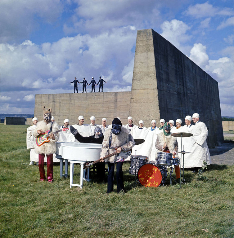 . The Beatles perform \'I Am The Walrus\' for the film Magical Mystery Tour. West Malling Air Station, Kent, England. 20th September 1967. Please credit © Apple Films Ltd.