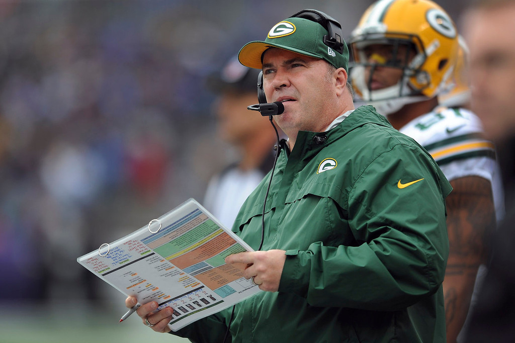 . Green Bay Packers head coach Mike McCarthy looks up at the scoreboard during the first half of an NFL football game against the Baltimore Ravens in Baltimore, Sunday, Oct. 13, 2013. (AP Photo/Gail Burton)