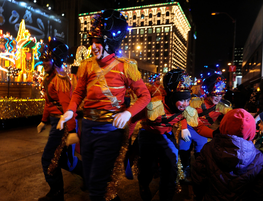. DENVER, CO. - DECEMBER 06: Toy soldiers greeted young fans who braved the cold as the 9News Parade of Lights kicked off Friday night, December 6, 2013. The weather was clear but temperatures dipped below zero. Photo By Karl Gehring/The Denver Post
