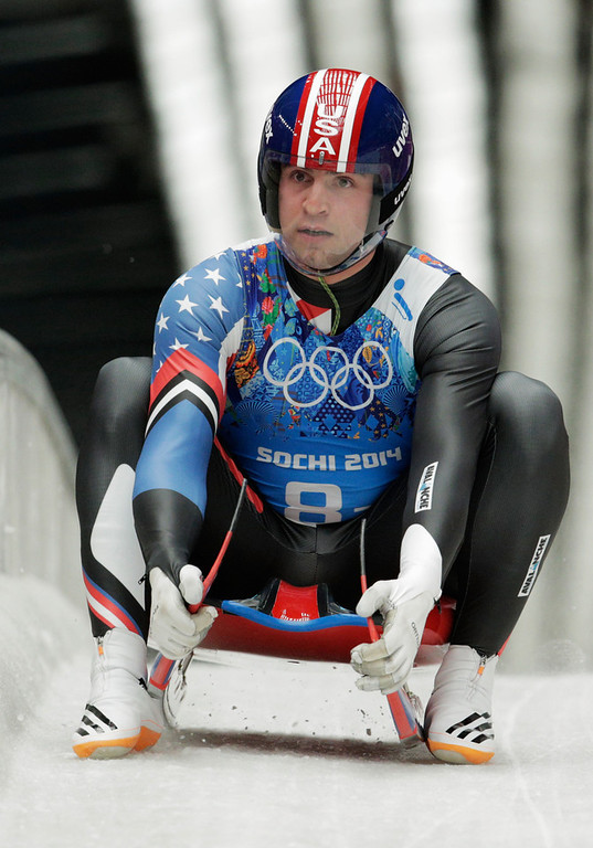 . Christopher Mazdzer of the United States finishes a run during the Luge Relay on Day 6 of the Sochi 2014 Winter Olympics at Sliding Center Sanki on February 13, 2014 in Sochi, Russia.  (Photo by Adam Pretty/Getty Images)