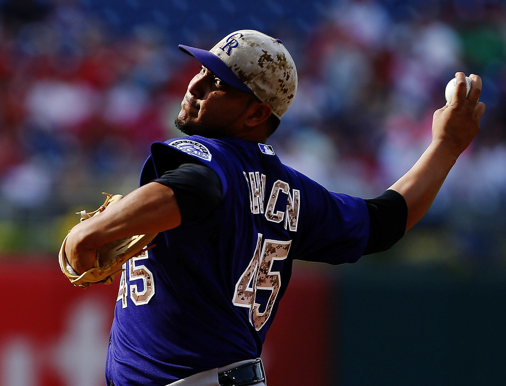 . Jhoulys Chacin #45 of the Colorado Rockies delivers a pitch against the Philadelphia Phillies during the first inning at Citizens Bank Park on May 26, 2014 in Philadelphia, Pennsylvania.  (Photo by Rich Schultz/Getty Images)