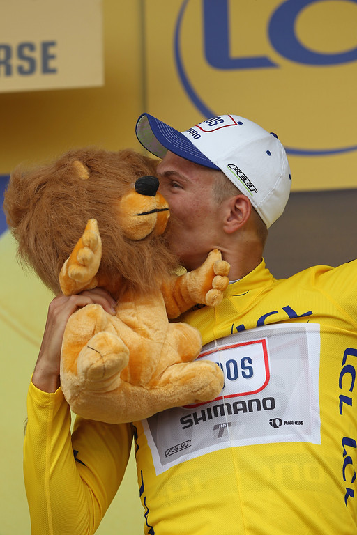 . Marcel Kittel of Germany and Argos-Shimano wears the yellow jersey after winning stage one of the 2013 Tour de France, a 213KM road stage from Porto-Vecchio to Bastia, on June 29, 2013 in Bastia, France.  (Photo by Doug Pensinger/Getty Images)