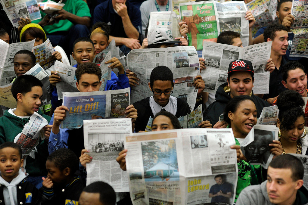 . Overland students did their best to ignore the Regis introductions before the game. The Overland High School boy\'s basketball team defeated Regis Jesuit 80-66 Tuesday night, December 11, 2012.  Karl Gehring/The Denver Post