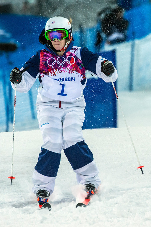 . KRASNAYA POLYANA, RUSSIA  - JANUARY 8: Hannah Kearney, of USA, competes in the Ladies\' Moguls Finals at Rosa Khutor Extreme Park during the 2014 Sochi Olympic Games Saturday February 8, 2014. Justine Dufour-Lapointe won gold with a score of 22.44. Her sister Chloe Dufour-Lapointe won the silver with a score of 21.66. Hannah Kearney, of USA, won bronze with a score of 21.49. (Photo by Chris Detrick/The Salt Lake Tribune)