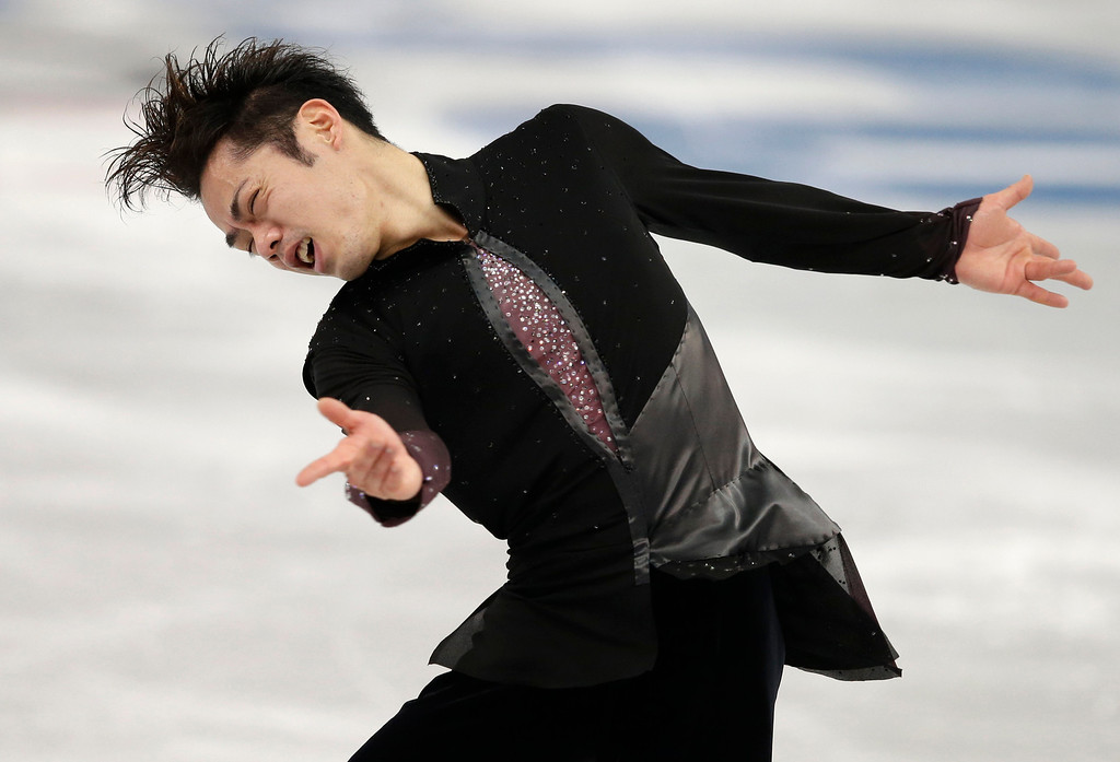 . Daisuke Takahashi of Japan competes in the men\'s short program figure skating competition at the Iceberg Skating Palace during the 2014 Winter Olympics, Thursday, Feb. 13, 2014, in Sochi, Russia. (AP Photo/Darron Cummings)