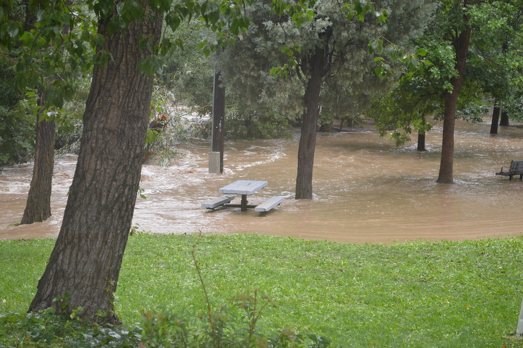 . Rising flood waters at Boulder Creek. Photo by Natalie Boyd