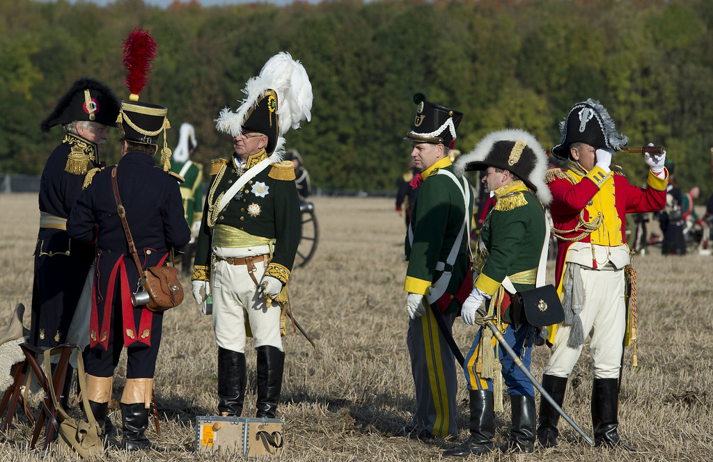 . Commanders in Napoleon\'s Grande Army stand near the French artillery during a reenactment of the Battle of the Nations (Voelkerschlacht) in Leipzig on October 20, 2013.  AFP PHOTO / JOHN  MACDOUGALL/AFP/Getty Images
