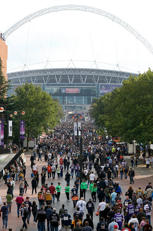 . Supporters pack \'Wembley Way\' as they arrive for the NFL football game between the Pittsburgh Steelers and the Minnesota Vikings at Wembley Stadium, London, Sunday, Sept. 29, 2013.  (AP Photo/Sang Tan)