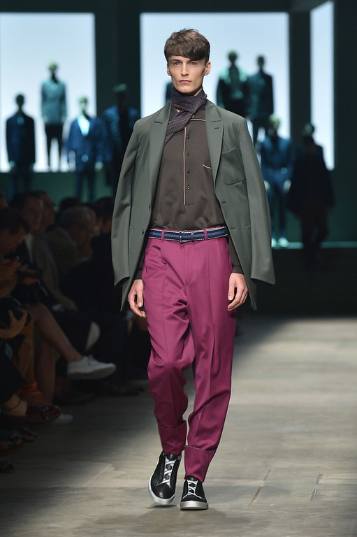 . A model presents a creation as part of Ermenegildo Zegna Menswear Spring-Summer 2015 collection on June 21, 2014 during the Men\'s fashion week in Milan. (TIZIANA FABI/AFP/Getty Images)