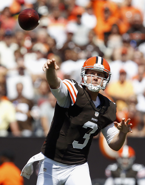 . Quarterback Brandon Weeden #3 of the Cleveland Browns throws to a receiver against the Miami Dolphins at Cleveland Browns Stadium on September 8, 2013 in Cleveland, Ohio. (Photo by Matt Sullivan/Getty Images)