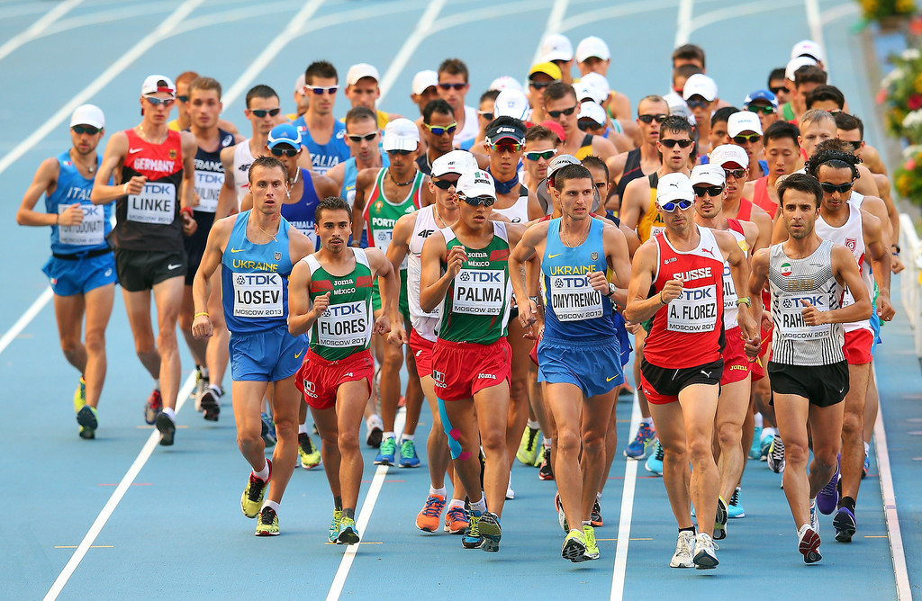 . Athletes compete in the Men\'s 20km Race Walk final during Day Two of the 14th IAAF World Athletics Championships Moscow 2013 at Luzhniki Stadium on August 11, 2013 in Moscow, Russia.  (Photo by Julian Finney/Getty Images)