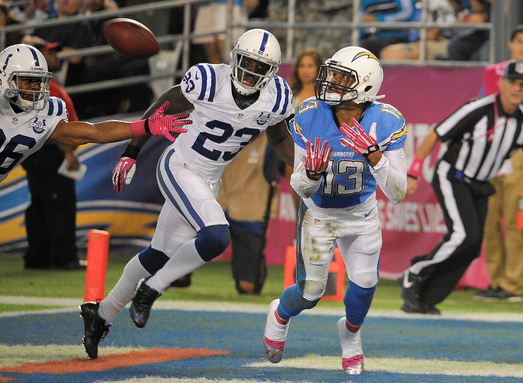 . San Diego Chargers wide receiver Keenan Allen, right, makes a touchdown catch in the end zone as Indianapolis Colts cornerback Vontae Davis, center, and free safety Delano Howell, left, look on during the first half of an NFL football game Monday, Oct. 14, 2013, in San Diego. (AP Photo/Denis Poroy)