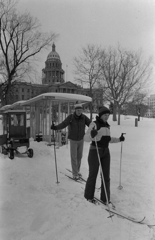 . Cross country skiing in Denver after the Blizzard of \'82. Denver Post Library Archive