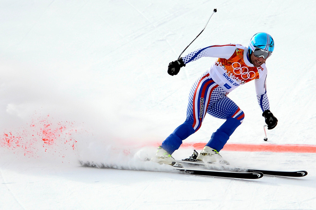 . SOCHI, RUSSIA - FEBRUARY 09: Russia\'s Alexander Glebov turns in a 2:08:96 23rd-place finish during the alpine skiing men\'s downhill final. Sochi 2014 Winter Olympics at the Rosa Khutor Alpine Resort on Sunday, February 9, 2014. (Photo by AAron Ontiveroz/The Denver Post)