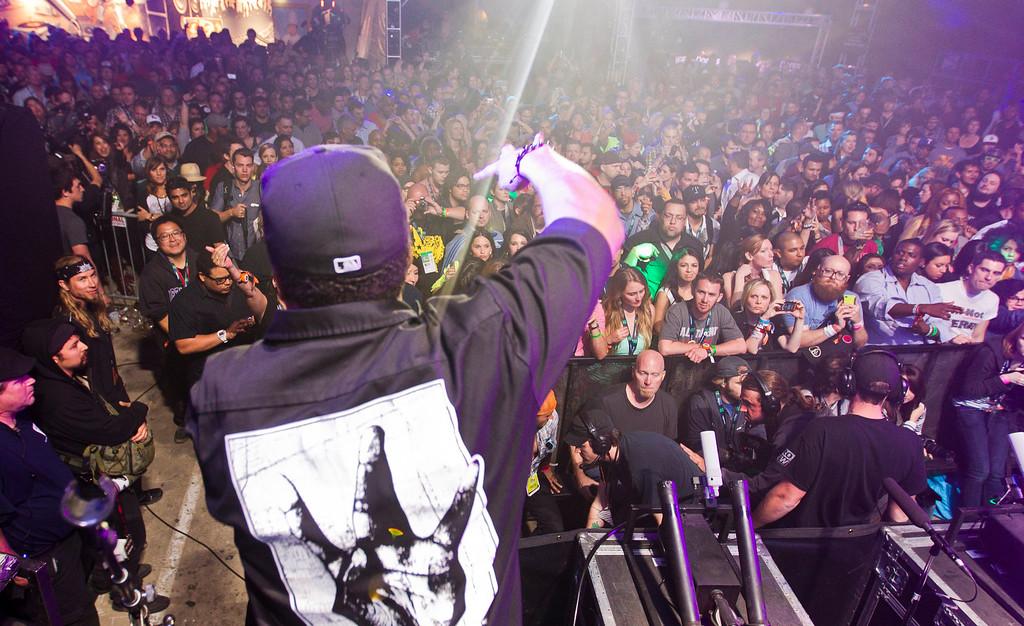 . Ice Cube performs at the Doritos Stage during SXSW 2013 on Thursday, March 14, 2013 in Austin, Texas. (AP Photo/Austin American-Statesman, statesman.com, Ricardo Brazziell)
