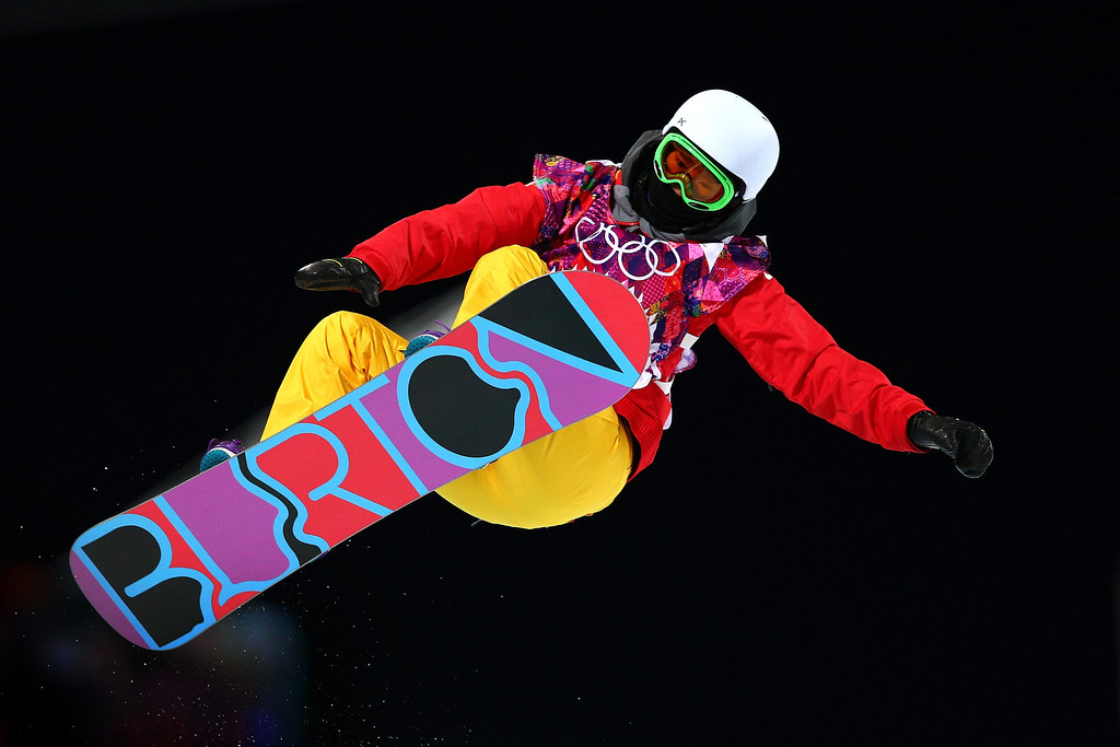 . Li Shuang of China competes in the Snowboard Women\'s Halfpipe Finals on day five of the Sochi 2014 Winter Olympics at Rosa Khutor Extreme Park on February 12, 2014 in Sochi, Russia.  (Photo by Cameron Spencer/Getty Images)