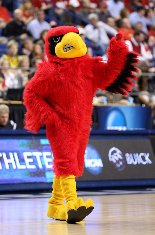 . LEXINGTON, KY - MARCH 23: The Louisville Cardinals mascot walks on the court during a game stoppage in the first half against the Colorado State Rams during the third round of the 2013 NCAA Men\'s Basketball Tournament at Rupp Arena on March 23, 2013 in Lexington, Kentucky.  (Photo by Andy Lyons/Getty Images)
