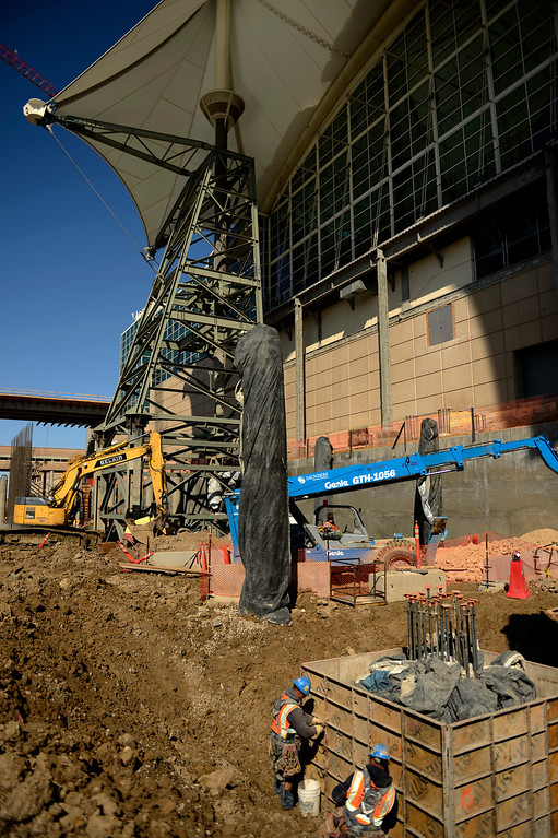 . Construction workers build forms as the Denver International Airport South Terminal Redevelopment Program is now starting to build vertical. The Westin Hotel and conference center is beginning to take shape. March 27, 2013 Denver, Colorado. (Photo By Joe Amon/The Denver Post)