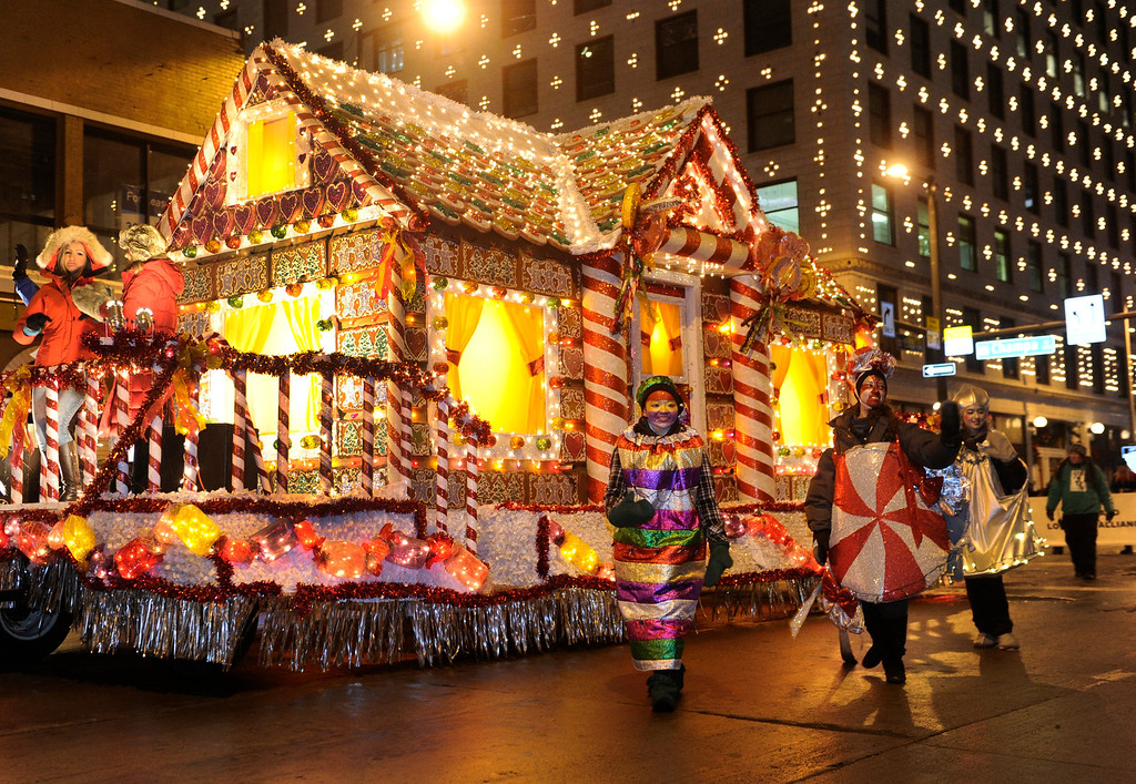 . DENVER, CO. - DECEMBER 06: A gingerbread house that might take all year to eat passed by as the 9News Parade of Lights kicked off Friday night, December 6, 2013. The weather was clear but temperatures dipped below zero. Photo By Karl Gehring/The Denver Post