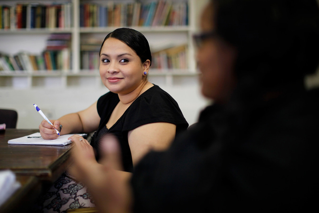 . Jacqueline Godoy listens to a counselor at Prototypes residential treatment program in Pomona, California, March 26, 2013. Prototypes is part of the Second Chance Women\'s Re-entry Court program, one of the first in the U.S. to focus on women. It offers a cost-saving alternative to prison for women who plead guilty to non-violent crimes and volunteer for treatment. Of the 297 women who have been through the court since 2007, 100 have graduated, and only 35 have been returned to state prison. Picture taken March 26, 2013. REUTERS/Lucy Nicholson