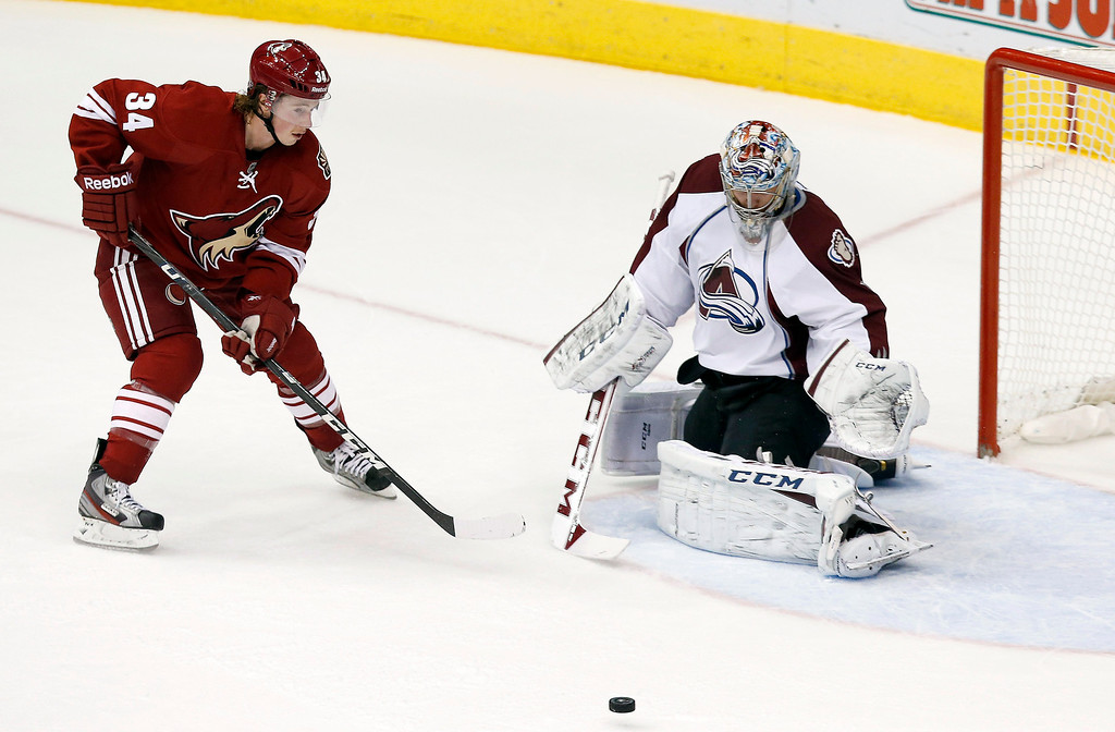 . Colorado Avalanche\'s Semyon Varlamov, right, of Russia, makes a save on a shot by Phoenix Coyotes\' Tim Kennedy (34) during the first period of an NHL hockey game Thursday, Nov. 21, 2013, in Glendale, Ariz. (AP Photo/Ross D. Franklin)
