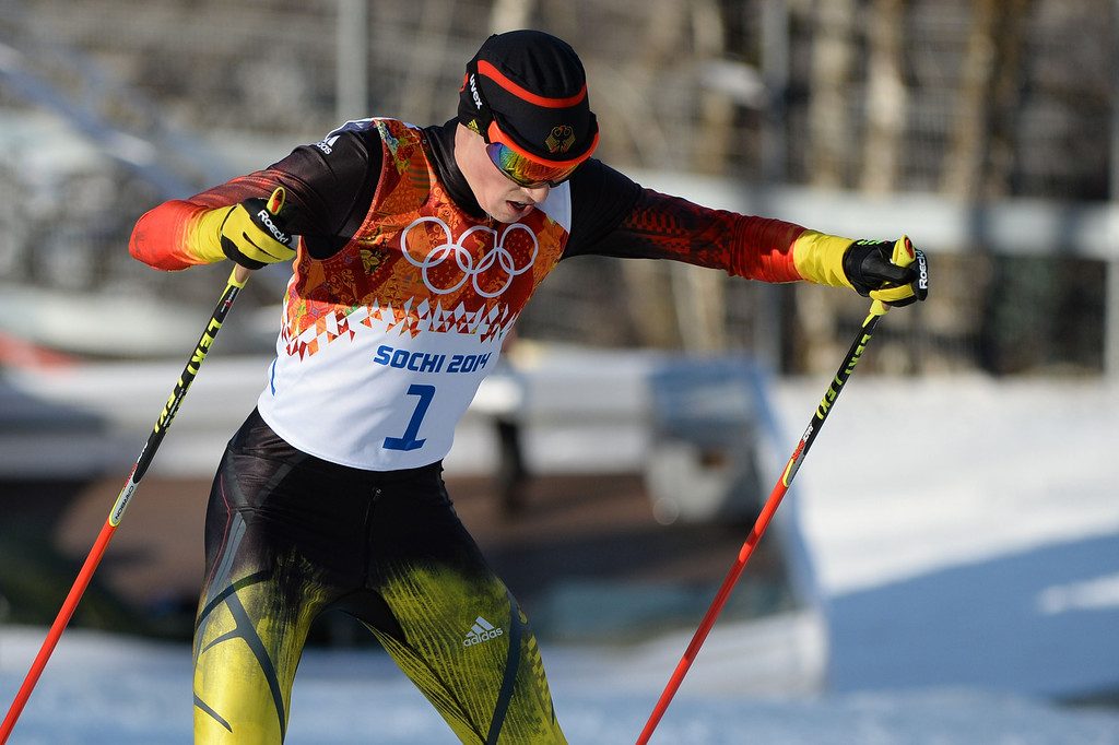 . Gold medalist Germany\'s Eric Frenzel (1) competes in the Nordic Combined Individual NH / 10 km Cross-Country at the RusSki Gorki Jumping Center during the Sochi Winter Olympics on February 12, 2014, in Rosa Khutor near Sochi.  AFP PHOTO / PETER PARKS/AFP/Getty Images