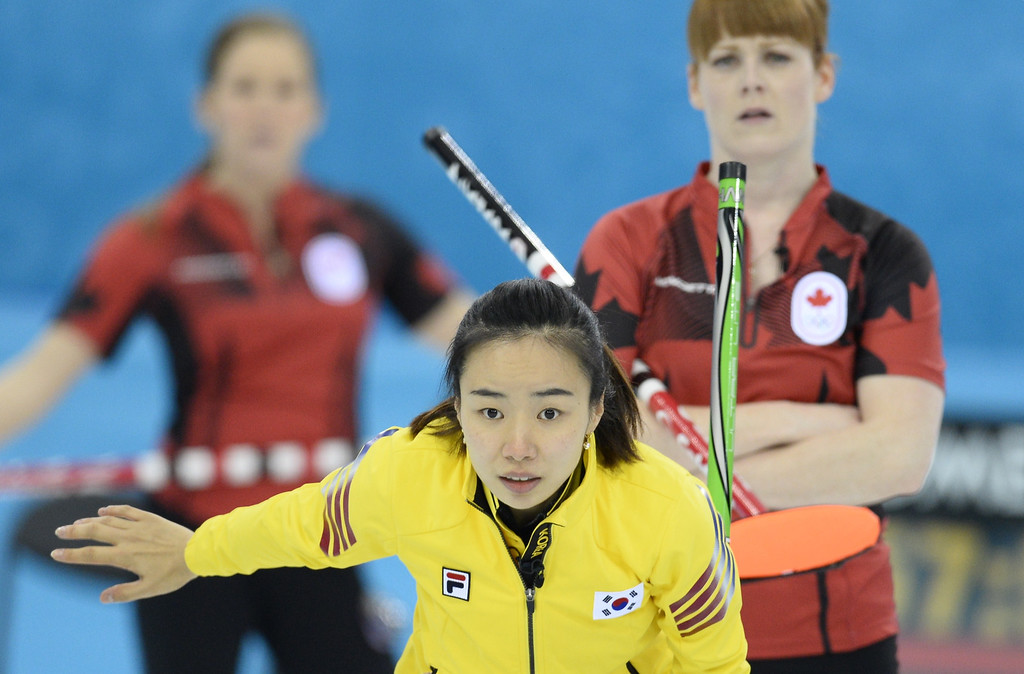 . South Korea\'s Jisun Kim (C) throws a stone during the Women\'s Curling Round Robin Session 12 against Canada at the Ice Cube Curling Center during the Sochi Winter Olympics on February 17, 2014.   JONATHAN NACKSTRAND/AFP/Getty Images