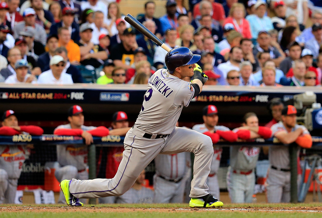 . National League All-Star Troy Tulowitzki #2 of the Colorado Rockies bats against the American League All-Stars during the 85th MLB All-Star Game at Target Field on July 15, 2014 in Minneapolis, Minnesota.  (Photo by Rob Carr/Getty Images)