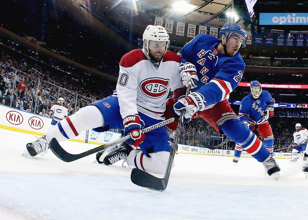 . Thomas Vanek #20 of the Montreal Canadiens and Ryan McDonagh #27 of the New York Rangers battle for position during Game Six of the Eastern Conference Final in the 2014 NHL Stanley Cup Playoffs at Madison Square Garden on May 29, 2014 in New York City.  (Photo by Bruce Bennett/Getty Images)