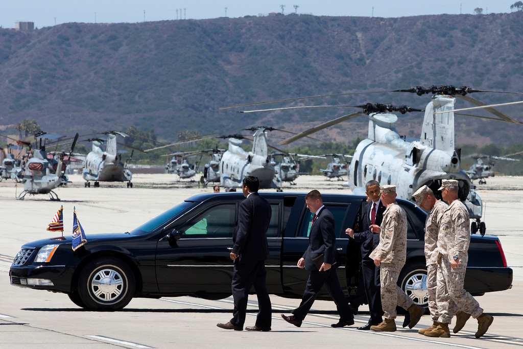 . President Barack Obama arrives to meets with members of the U.S. military and their families at Marine Corps Base Camp Pendleton, Calif., Wednesday, Aug. 7, 2013. The visit to the Marine Corps base is Obama\'s final stop on a two-day West Coast trip that included the rollout of his principles for overhauling the nation\'s mortgage finance industry. (AP Photo/Jacquelyn Martin)
