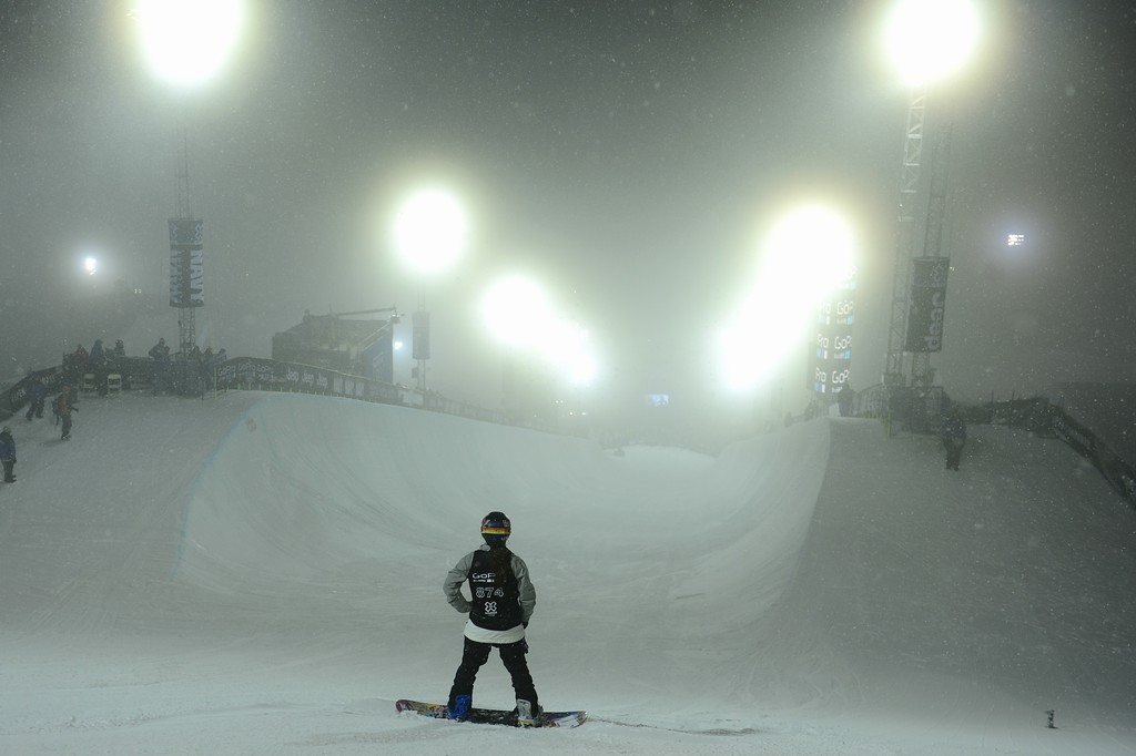 . ASPEN, CO - JANUARY 26: Areielle Gold prepares to take a run during the women\'s snowboard superpipe final. X Games Aspen Buttermilk Mountain January 26, 2013. (Photo By AAron Ontiveroz/ The Denver Post)
