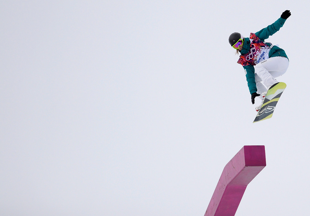 . Australia\'s  Torah Bright competes in the Women\'s Snowboard Slopestyle Final at the Rosa Khutor Extreme Park during the Sochi Winter Olympics on February 9, 2014.  FRANCK FIFE/AFP/Getty Images