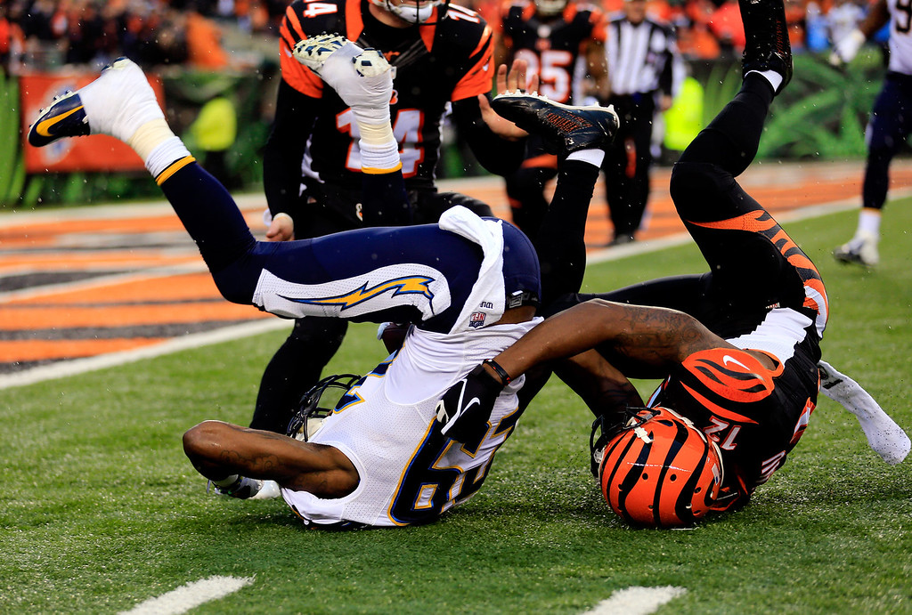 . Cornerback Shareece Wright #29 of the San Diego Chargers intercepts a pass intended for wide receiver Mohamed Sanu #12 of the Cincinnati Bengals during a Wild Card Playoff game at Paul Brown Stadium on January 5, 2014 in Cincinnati, Ohio.  (Photo by Rob Carr/Getty Images)