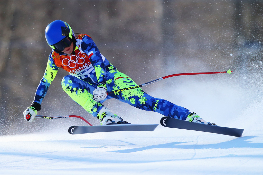 . Ania Monica Caill of Romania skis during the Alpine Skiing Women\'s Downhill on day 5 of the Sochi 2014 Winter Olympics at Rosa Khutor Alpine Center on February 12, 2014 in Sochi, Russia.  (Photo by Clive Rose/Getty Images)