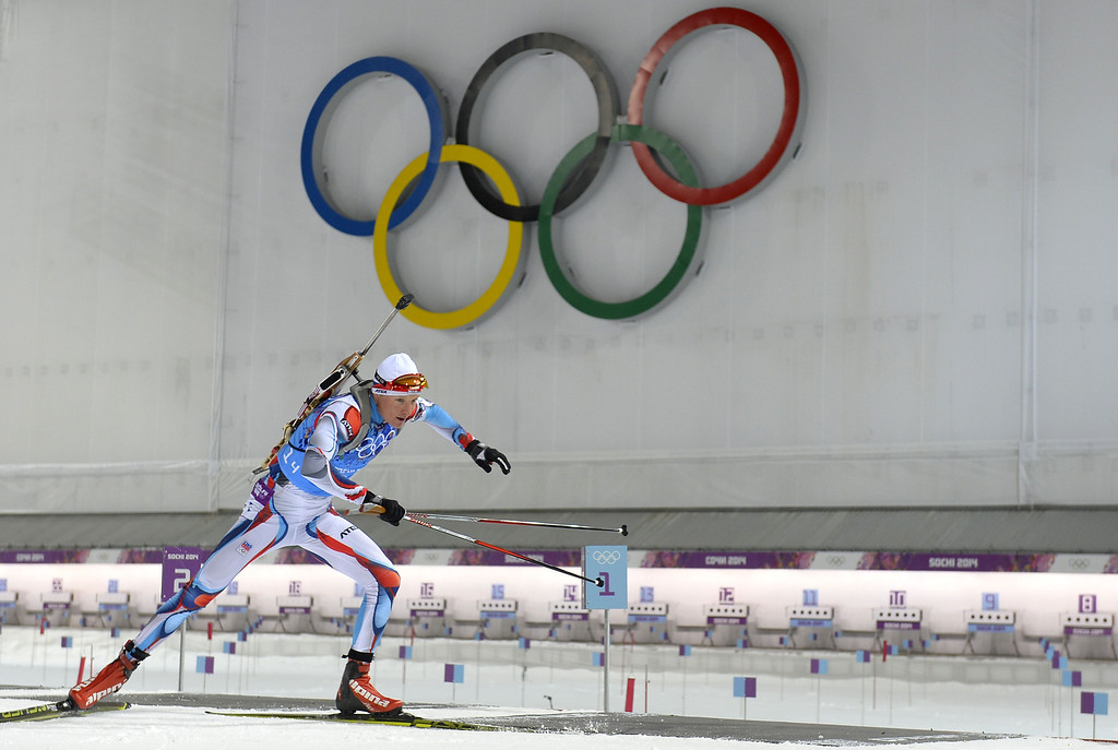 . Czech Republic\'s Ondrej Moravec  leaves the range as he competes to win silver in the Biathlon mixed 2x6 km + 2x7,5 km Relay at the Laura Cross-Country Ski and Biathlon Center during the Sochi Winter Olympics on February 19, 2014 in Rosa Khutor near Sochi. AFP PHOTO / ODD ANDERSEN/AFP/Getty Images