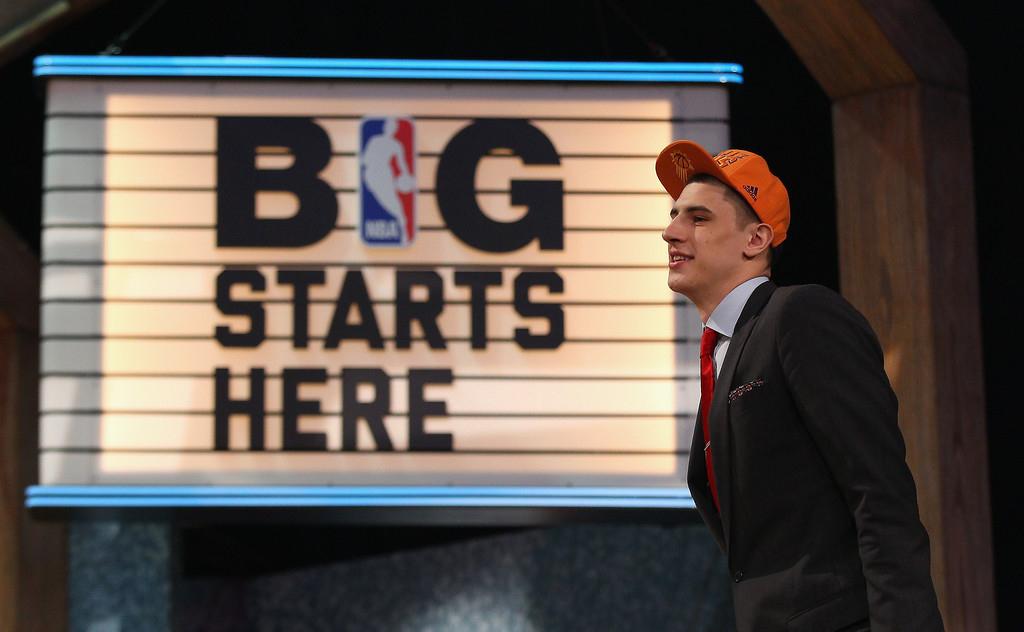. Alex Len of Maryland walks on stage after Len was drafted #5 overall in the first round by the Phoenix Suns during the 2013 NBA Draft at Barclays Center on June 27, 2013 in in the Brooklyn Bourough of New York City.  Photo by Mike Stobe/Getty Images)