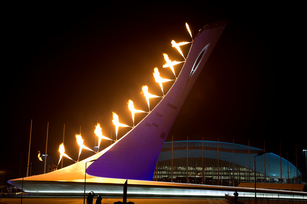 . The Olympic cauldron is lit during the opening ceremony of the 2014 Winter Olympics in Sochi, Russia, Friday, Feb. 7, 2014. (AP Photo/Bernat Armangue)