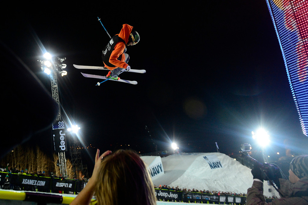 . ASPEN, CO. - JANUARY 24: Kevin Rolland during the men\'s ski superpipe final. X Games Aspen Buettermilk Mountain Aspen January 25, 2013 (Photo By AAron Ontiveroz / The Denver Post)