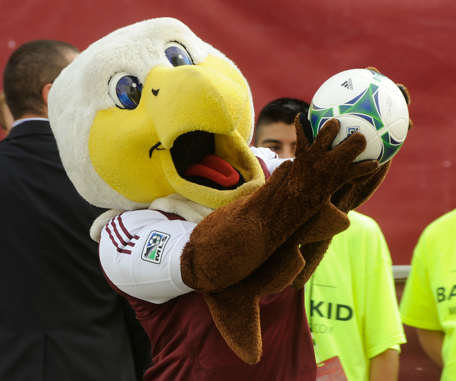 . COMMERCE CITY, CO. - JULY 27:  Rapids mascot Edson the Eagle carried the game ball to the field. The Colorado Rapids hosted the Los Angeles Galaxy Saturday, July 27, 2013.  Photo By Karl Gehring/The Denver Post
