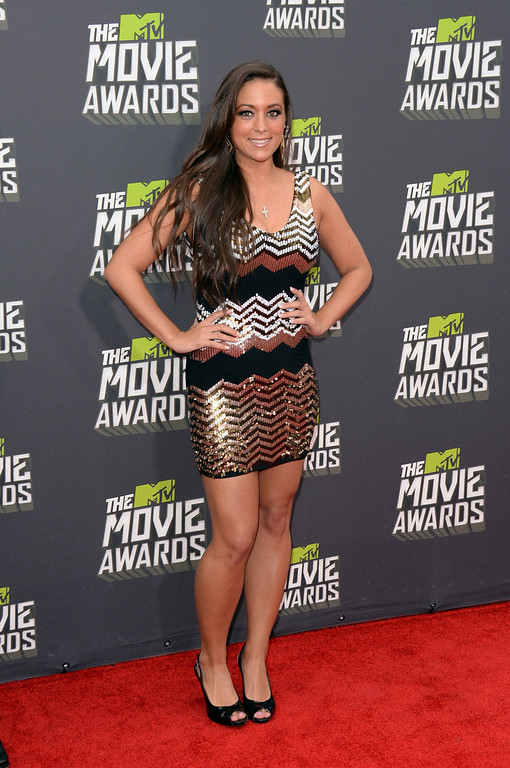 . TV personality Sammi Giancola arrives at the 2013 MTV Movie Awards at Sony Pictures Studios on April 14, 2013 in Culver City, California.  (Photo by Jason Merritt/Getty Images)