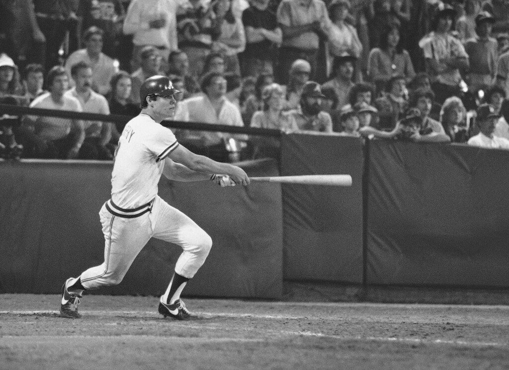 . DALE MURPHY -- Atlanta Braves Dale Murphy (3) hits the winning home run in the bottom of the 10th inning with the bases loaded during  the Atlanta-Los Angeles game Sept. 9, 1982, to give the Braves a 12-11 victory. (AP Photo/Roger Grigg)