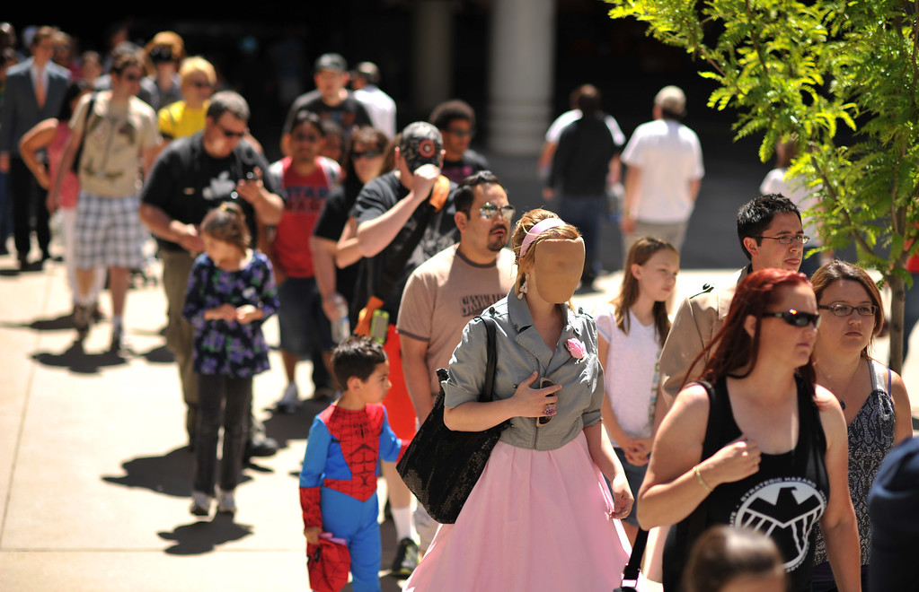 . DENVER, CO. - MAY 31: People line for the Opening day of Denver Comic Con at Colorado Convention Center. Denver, Colorado. May 31, 2013. (Photo By Hyoung Chang/The Denver Post)