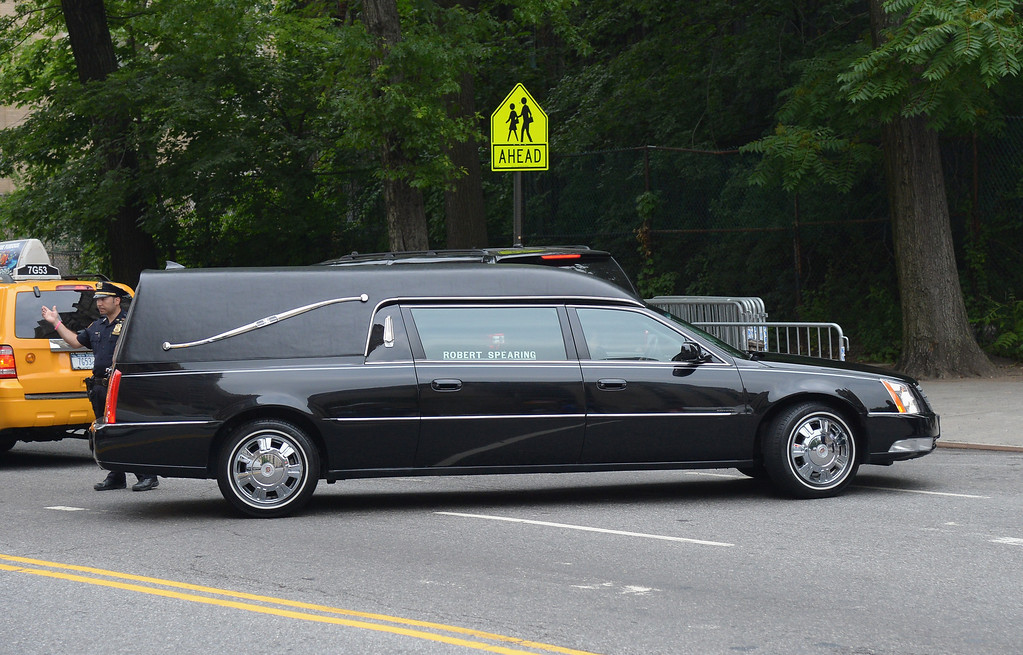 . A hearse enters a side entrance at the funeral for actor James Gandolfin at The Cathedral Church of St. John the Divine on June 27, 2013 in New York City.  (Photo by Mike Coppola/Getty Images)