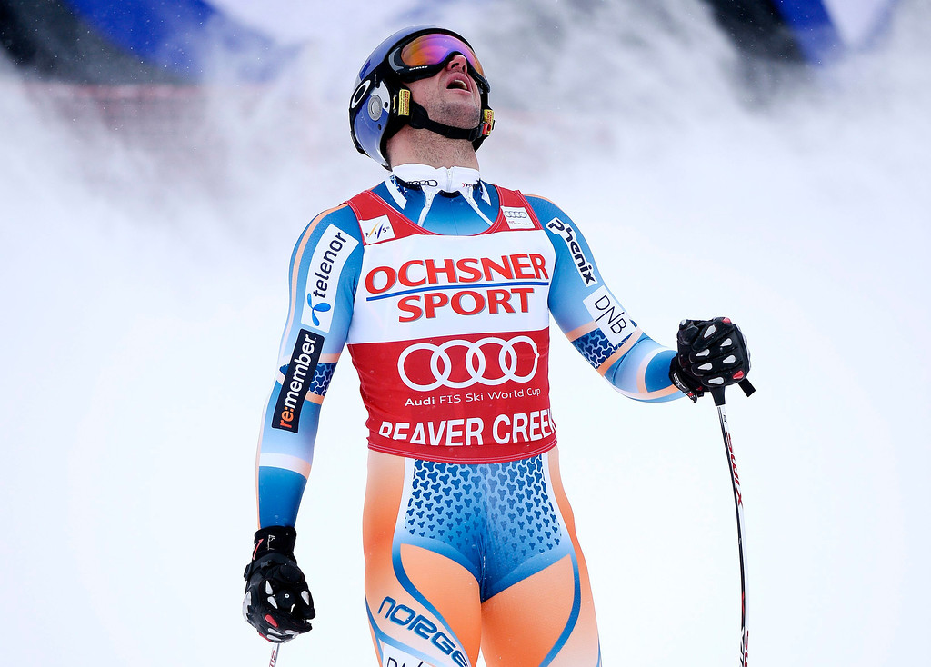 . Aksel Lund Svindal, of Norway, reacts to his time at the finish line during the men\'s Super-G race at the FIS Alpine Skiing World Cup in Beaver Creek, Colorado, USA, 07 December 2013.  EPA/JOHN G. MABANGLO
