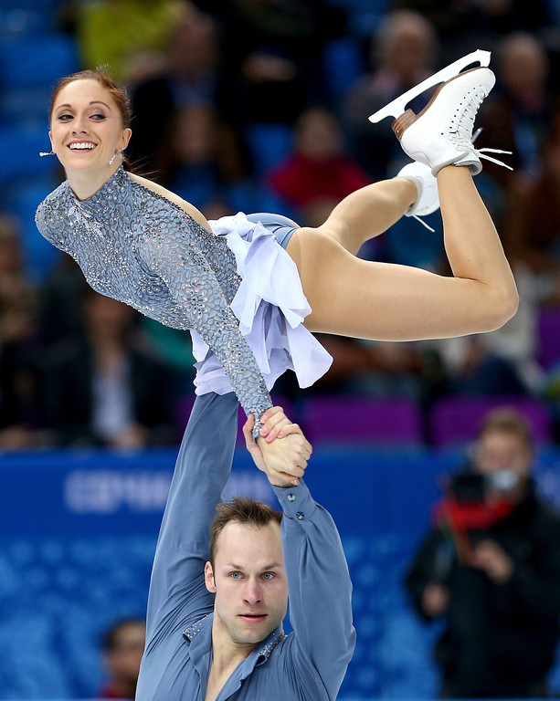 Description of . Maylin Wende and Daniel Wende of Germany react after they compete during the Figure Skating Pairs Short Program on day four of the Sochi 2014 Winter Olympics at Iceberg Skating Palace on February 11, 2014 in Sochi, Russia.  (Photo by Paul Gilham/Getty Images)
