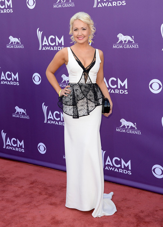 . Singer Meghan Linsey arrives at the 48th Annual Academy of Country Music Awards at the MGM Grand Garden Arena on April 7, 2013 in Las Vegas, Nevada.  (Photo by Jason Merritt/Getty Images)