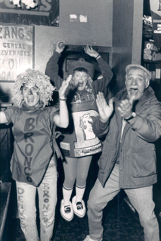 . FEB 1 1988 - Barrel lady Marge Smith and friends at Zangs cheer for the Broncos. (Duane Howell/The Denver Post)